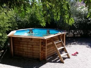 Jorå. Pool är underbart skönt i juli i Vedéne.