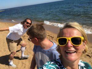 Lite gladare när man får vara på stranden